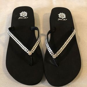 Yellow Box Rhinestone Black flipflop sandals